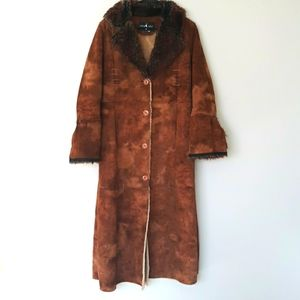 Baby Phat shearling cognac brown coat size small